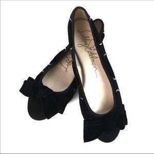 Libby Edelman Casey Black Velvet Bow Ballet Flats